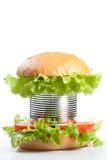Unhealthy canned fast food hamburger Stock Photos