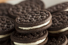 Unhealthy Chocolate Cookies with Cream Filling Royalty Free Stock Photo