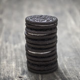 Unhealthy Chocolate Cookies with Vanilla Cream Filling Royalty Free Stock Image