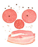 Unhealthy cholesterol face with smile — Slices of ham and saus Stock Photo