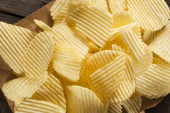 Unhealthy Crinkle Cut Potato Chips Stock Image