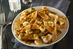Unhealthy Delicious Poutine with French Fries Royalty Free Stock Images