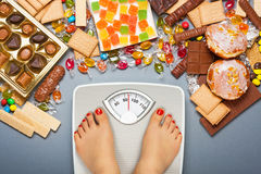 Unhealthy diet - overweight Royalty Free Stock Photos