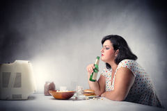 Unhealthy dinner Royalty Free Stock Photo