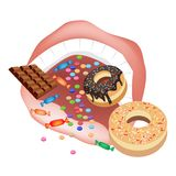 Person Eating Unhealthy Sweet Food on White Backgr Stock Images