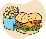 Unhealthy fast food. A fast-food illustration of an unhealthy food: burger with potatoes fries Stock Photography