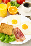 Unhealthy fatty breakfast with cup of coffee with bacon,eggs Stock Images