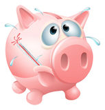 Unhealthy finances concept. Of an unwell piggy bank sweating with a fever and causing a thermometer to burst Stock Photography