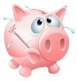 Unhealthy finances concept. Of an unwell piggy bank sweating with a fever and causing a thermometer to burst Stock Image