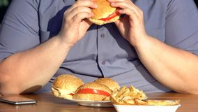 Unhealthy food addiction, obese hungry man eating fatty burgers, overweight. Stock photo stock image