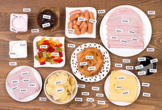 Unhealthy food additives. Various unhealthy additives in different kinds of food stock photos