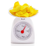 Unhealthy food on balance scale Royalty Free Stock Photography