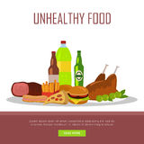 Unhealthy Food Banner Isolated on White Stock Image