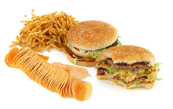 Unhealthy food composition stock photo