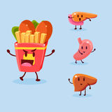 Unhealthy Food Danger. Vector Illustration Set Stock Images