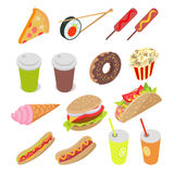 Unhealthy Food and Drinks Set. Vector Illustration Stock Images