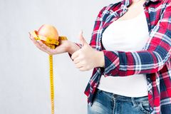 Unhealthy food fat woman concept, Hungry girl XXL say no to bad Royalty Free Stock Photos
