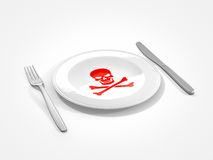 Unhealthy food. Fork knife and plate with skull and cross bones representing poisoning food Stock Photography