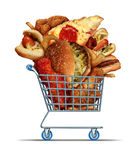 Unhealthy Food Shopping. As a diet concept with greasy fried take out as onion rings burger and hot dogs with fried chicken french fries and pizza in a store Royalty Free Stock Photography