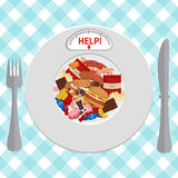 Unhealthy Foods concept. Plate with icons of unhealthy foods and indicator Stock Photography