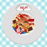 Unhealthy Foods concept. Plate with icons of unhealthy foods and indicator Royalty Free Stock Photos