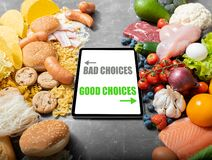 Free Unhealthy Foods Versus Healthy Foods Royalty Free Stock Photo - 176992225
