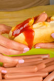 Unhealthy greasy hot dog Royalty Free Stock Photos