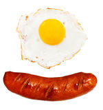 Unhealthy grilled barbecue sausage and egg Royalty Free Stock Photos