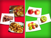 Unhealthy and healthy food Stock Image