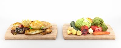 Hamburger and vegetables, healthy food, 3d render illustration Royalty Free Stock Photos