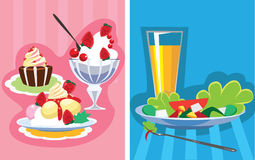 Unhealthy and healthy food. Vector illustration of unhealthy and healthy food, sweet dessert, cake and cream, vegetables Royalty Free Stock Photography