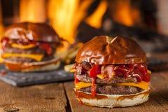 Unhealthy Homemade Barbecue Bacon Cheeseburger Stock Photo