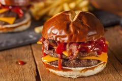 Unhealthy Homemade Barbecue Bacon Cheeseburger Royalty Free Stock Image