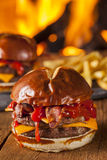 Unhealthy Homemade Barbecue Bacon Cheeseburger Royalty Free Stock Images