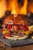 Unhealthy Homemade Barbecue Bacon Cheeseburger Stock Photos