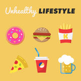 Unhealthy Lifestyle. Concept of unhealthy lifestyle. Donut, beer, fries, Burger, pizza, soda. Vector illustration vector illustration