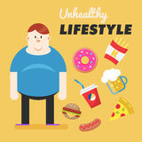 Unhealthy Lifestyle. Concept of unhealthy lifestyle. Fat man and his bad habits. Vector illustration Stock Photo