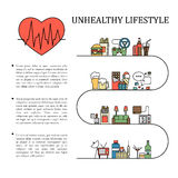 Unhealthy lifestyle vector infographic information in line style with heart shape. Unnatural life background Royalty Free Stock Photography