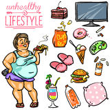 Unhealthy Lifestyle - Woman Royalty Free Stock Image