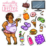 Unhealthy Lifestyle - Woman Royalty Free Stock Images