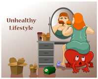 Unhealthy Lifestyle woman Royalty Free Stock Photography