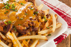 Unhealthy Messy Chili Cheese Fries Stock Image