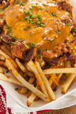 Unhealthy Messy Chili Cheese Fries Stock Photo