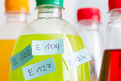 Unhealthy poisonous chemical carbonated drinks and ingredients Royalty Free Stock Photo