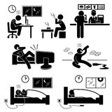 Unhealthy Poor Lifestyle Habit Pictogram Icon. A set of human pictogram representing the unhealthy lifestyle of people such as working too late, smoking, eating Royalty Free Stock Images