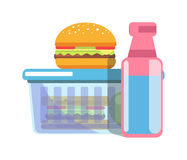 Unhealthy school lunch with fat food isolated illustration Stock Images
