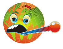 Unhealthy, Sick Planet. Global warming. Cartoon illustration with globe and thermometer measuring the planet temperature Royalty Free Stock Image