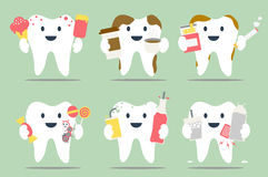 Unhealthy teeth set Royalty Free Stock Image