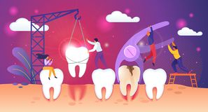 Unhealthy Tooth Removal Process. Tiny People Work royalty free illustration