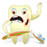 Unhealthy And Unfriendly Tooth. Cartoon illustration from teeth care concept, one unhealthy tooth with toothbrush Stock Photo